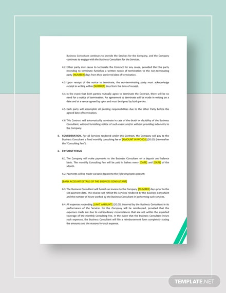 Sample Business Consulting Contract