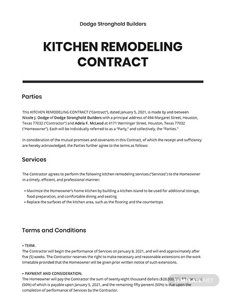 Kitchen Remodeling Contract Template