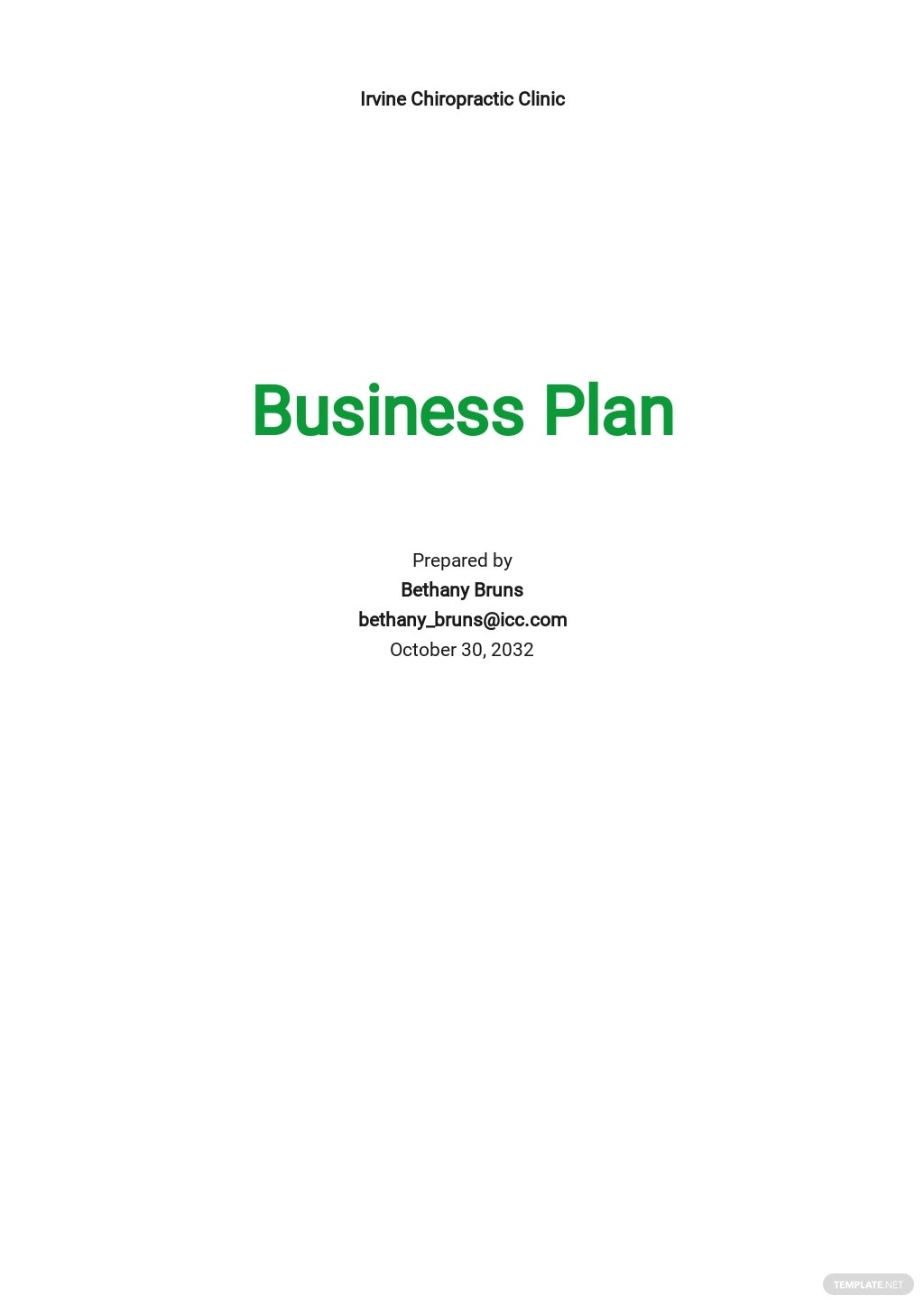 Chiropractic Business Plan Template