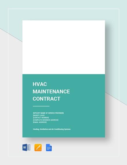 HVAC Maintenance Contract Template