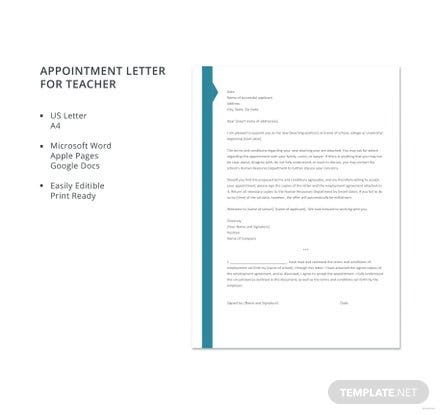 Free Appointment Letter Template for Teacher