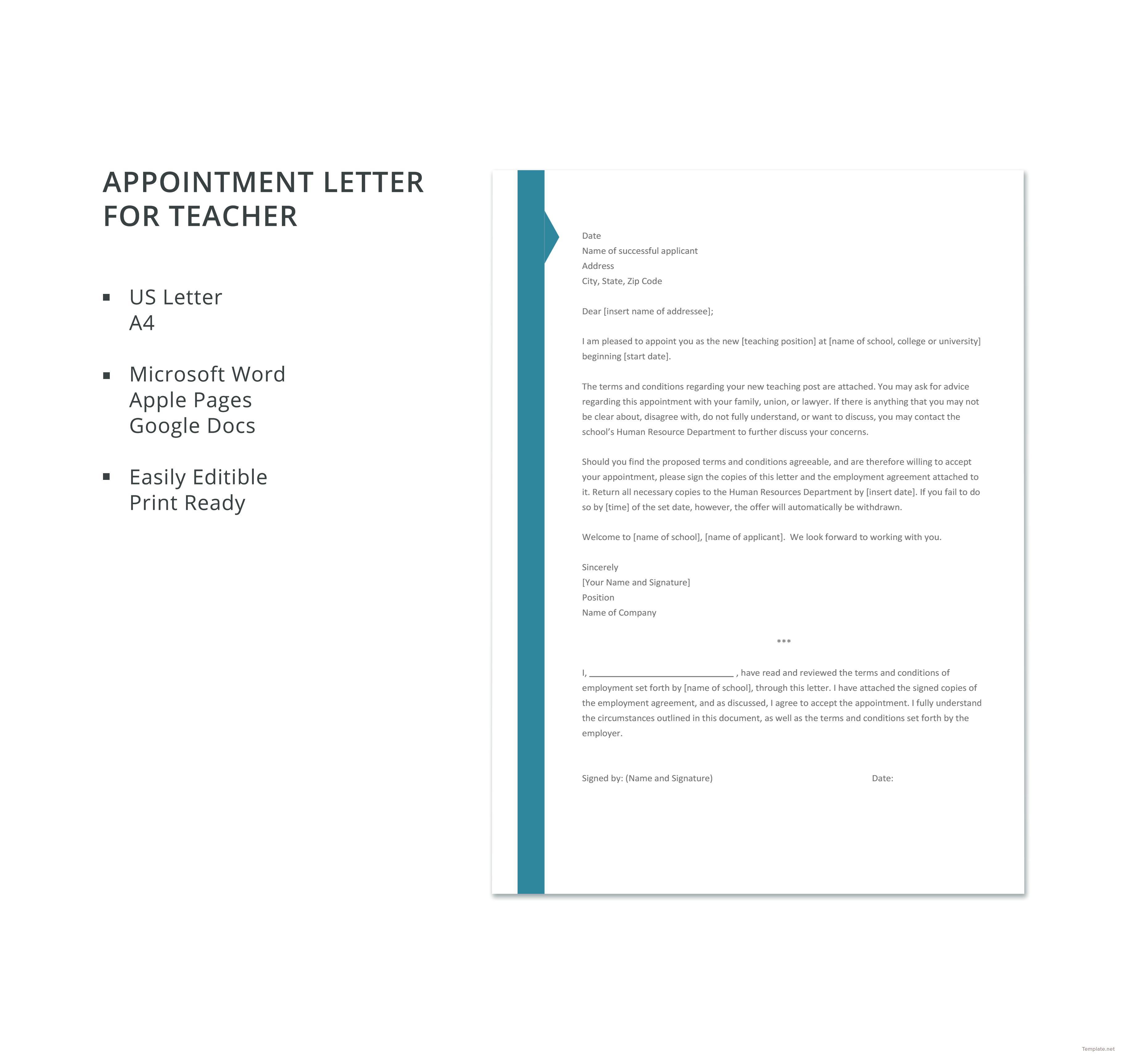 Appointment letter template for teacher in microsoft word apple appointment letter template for teacher platinumwayz