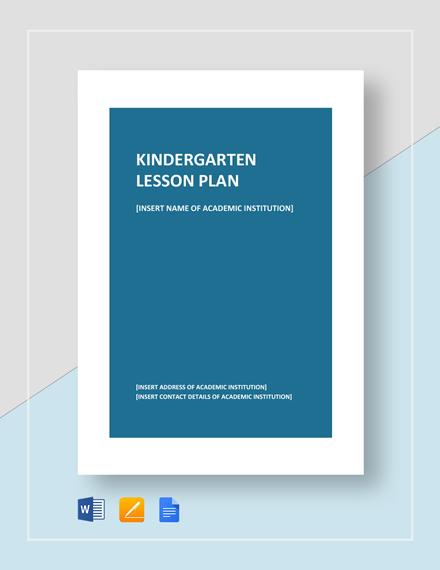 Kindergarten Lesson Plan Template