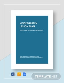 Kindergarten Lesson Plan Template