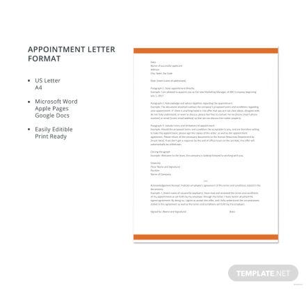 Free Appointment Letter Format