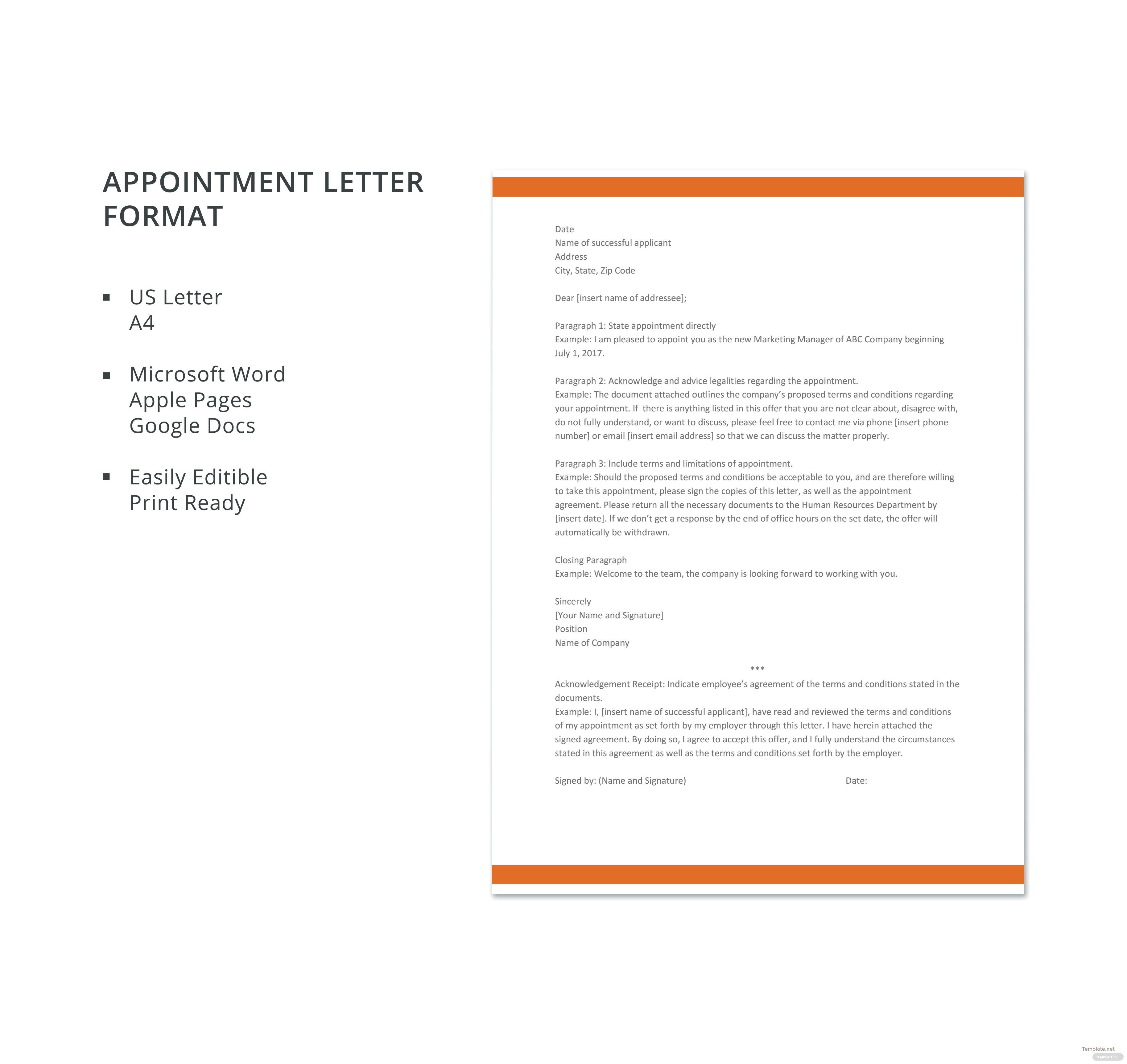 Appointment letter format in microsoft word apple pages google click to see full template appointment letter format thecheapjerseys Choice Image
