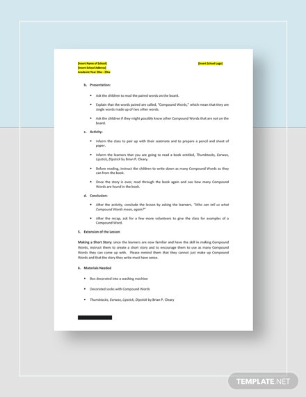 Elementary Lesson Plan Download