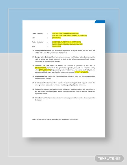 Sample Business Agreement Contract