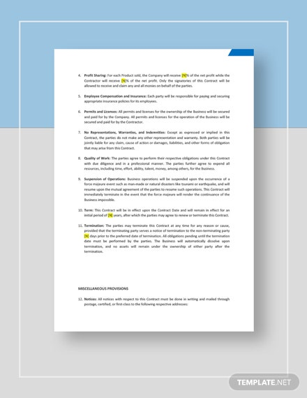 Business Agreement Contract Download