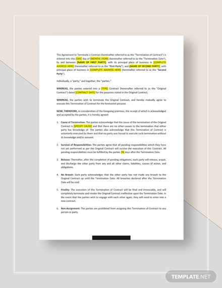 Termination of Contract Template