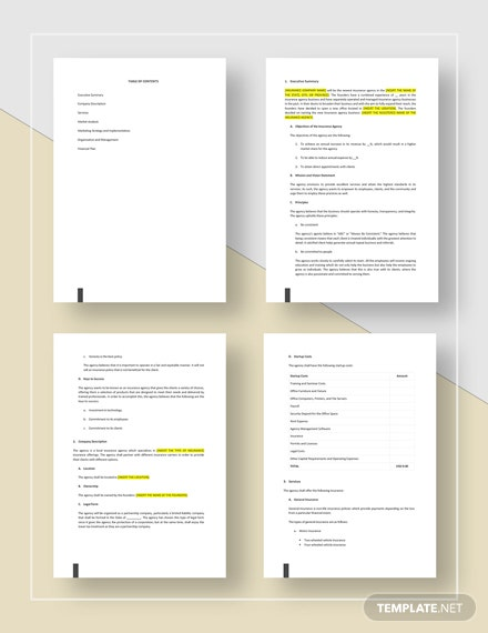 Insurance Agency Business Plan Template Word Google Docs