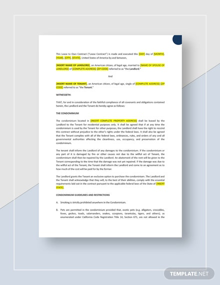 Lease to Own Contract Template