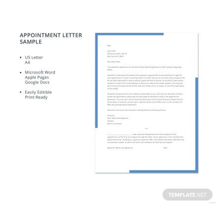 Free Appointment Letter Sample