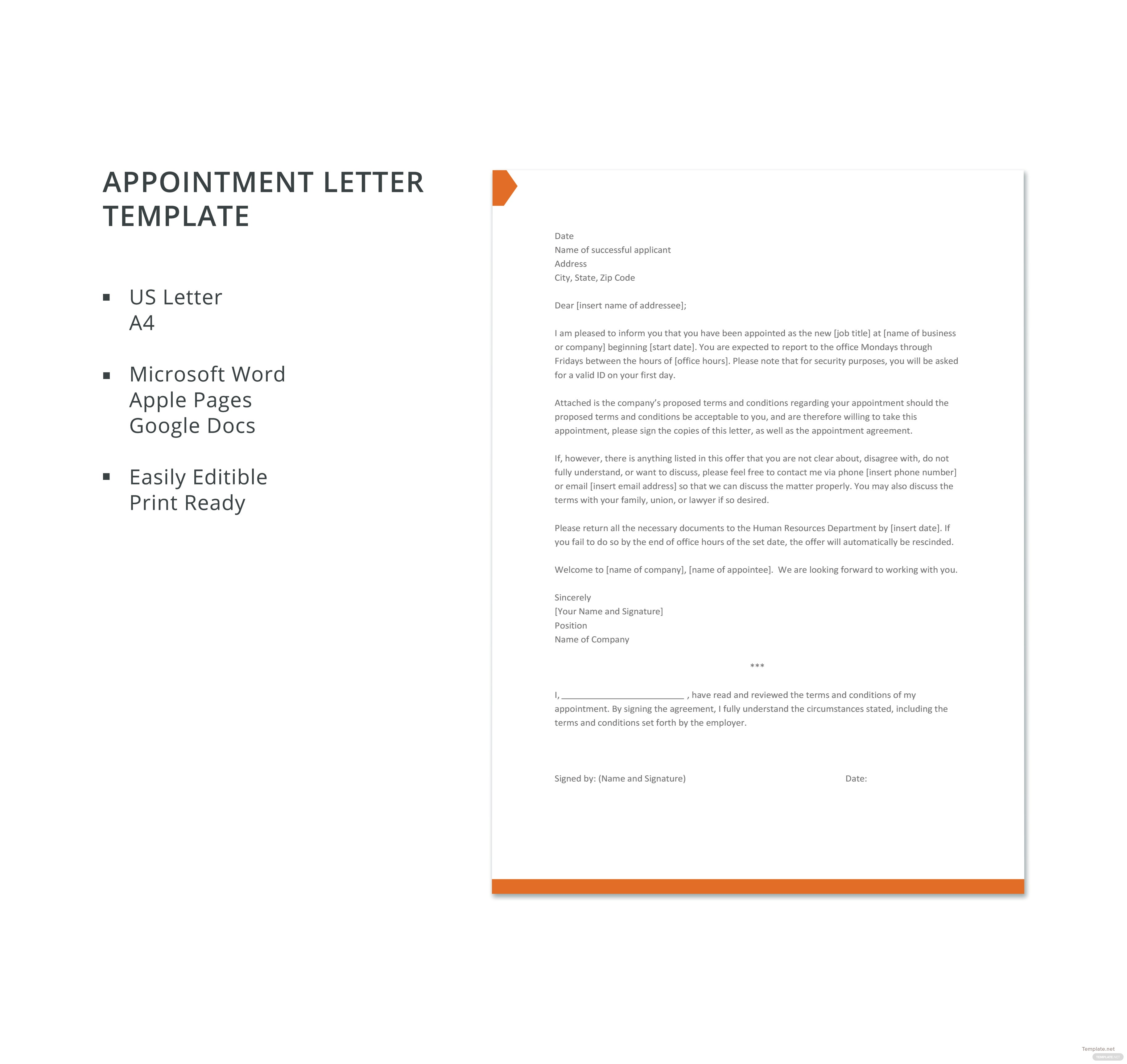 Appointment Letter Template In Microsoft Word Apple Pages Google