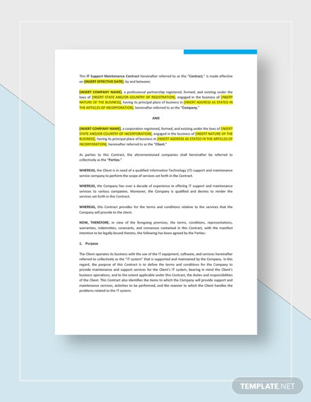 Contract Template Word Doc