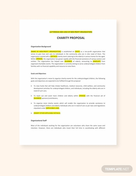 charity proposal template template net