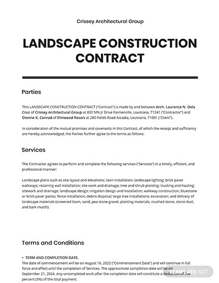 Landscape Construction Contract Template