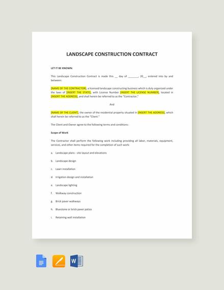 Landscape Construction Contract Template Template Net