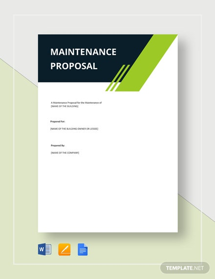 Maintenance Proposal Template