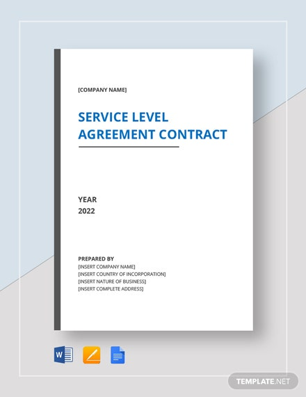 Service Level Agreement Contract Template Word Doc