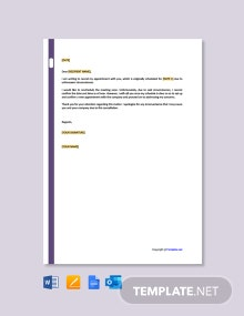 Free Cancellation of Appointment Letter Template
