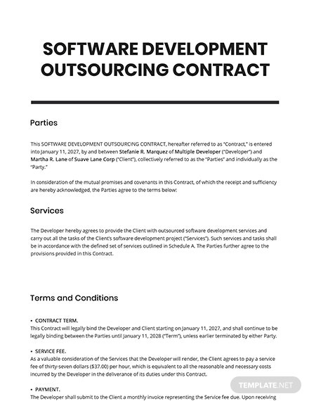 Software Development Outsourcing Contract Template