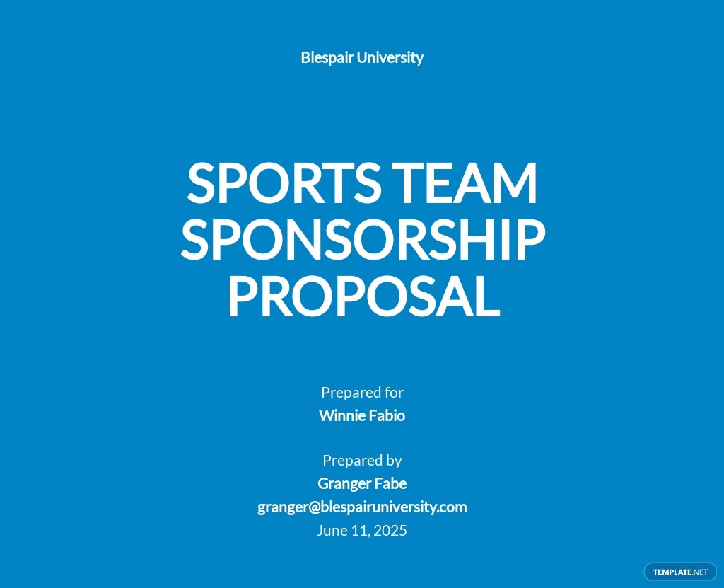 Sports Team Sponsorship Proposal Template