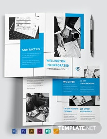 Annual Report Bi-Fold Brochure Template