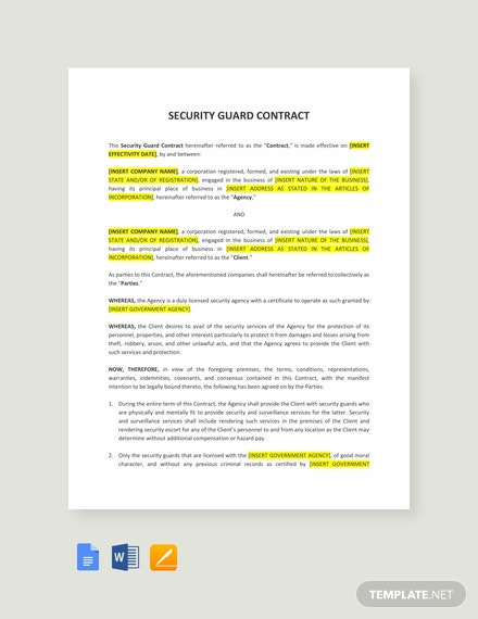 security guard contract template template net