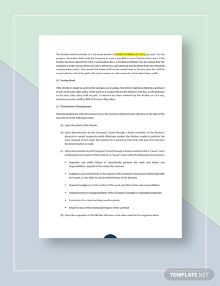 Sample Work Agreement Contract