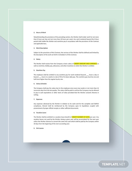 Work Agreement Contract Download