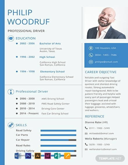 Free Car Driver Resume Template Word Doc Psd Indesign