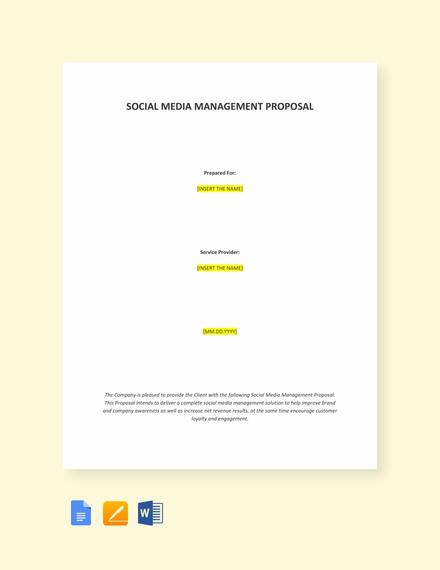 Social Media Management Proposal Template Template Net