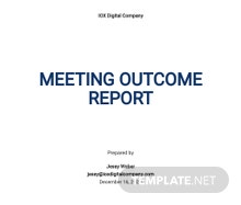 Meeting Outcome Report Template