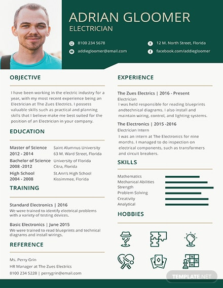 Free Electrician Resume Template