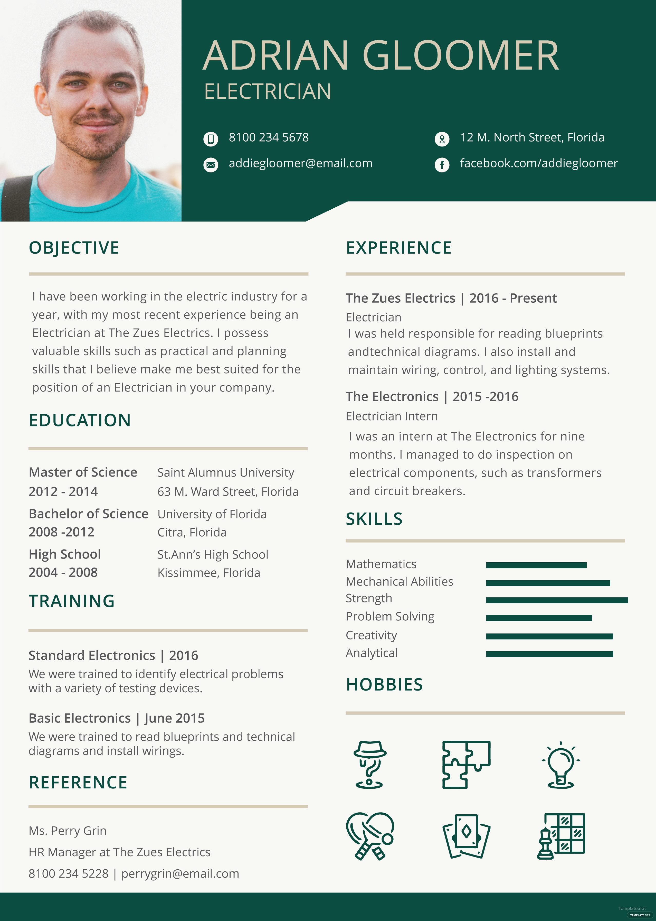 free electrician resume and cv template in adobe