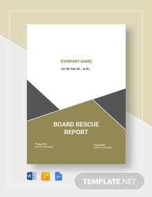 Board Rescue Report Template