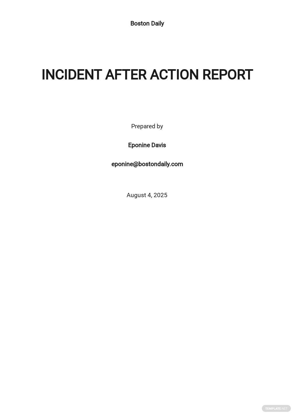 Incident After Action Report Template