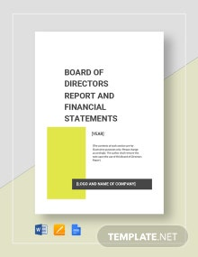 Board of Directors Report Template