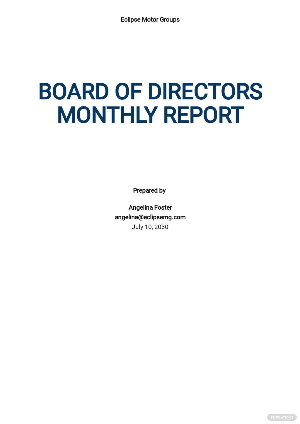 Board of Directors Report Template