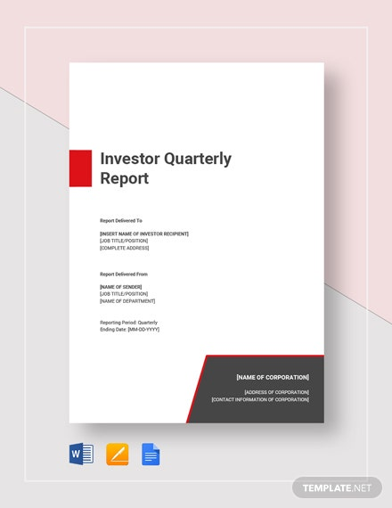 Investor Quarterly Report Template