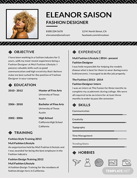 fashion resume templates free fashion designer resume and cv template 160 21678