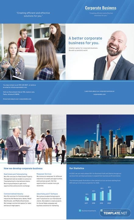 Free Corporate Bifold Brochure Template