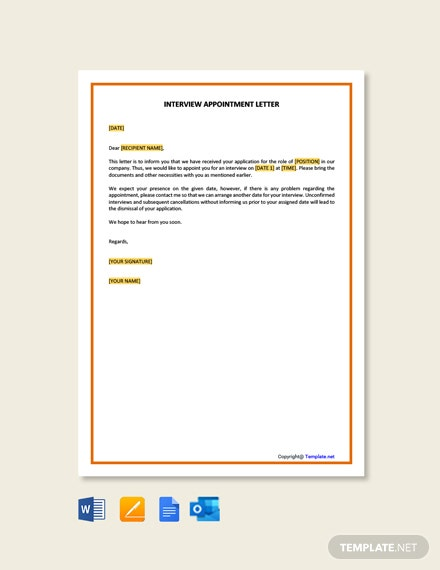 Free Interview Appointment Letter Template