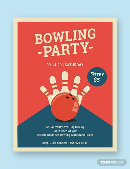 bowling party flyer 440x570