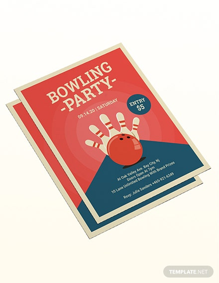 Sample Bowling Party Flyer