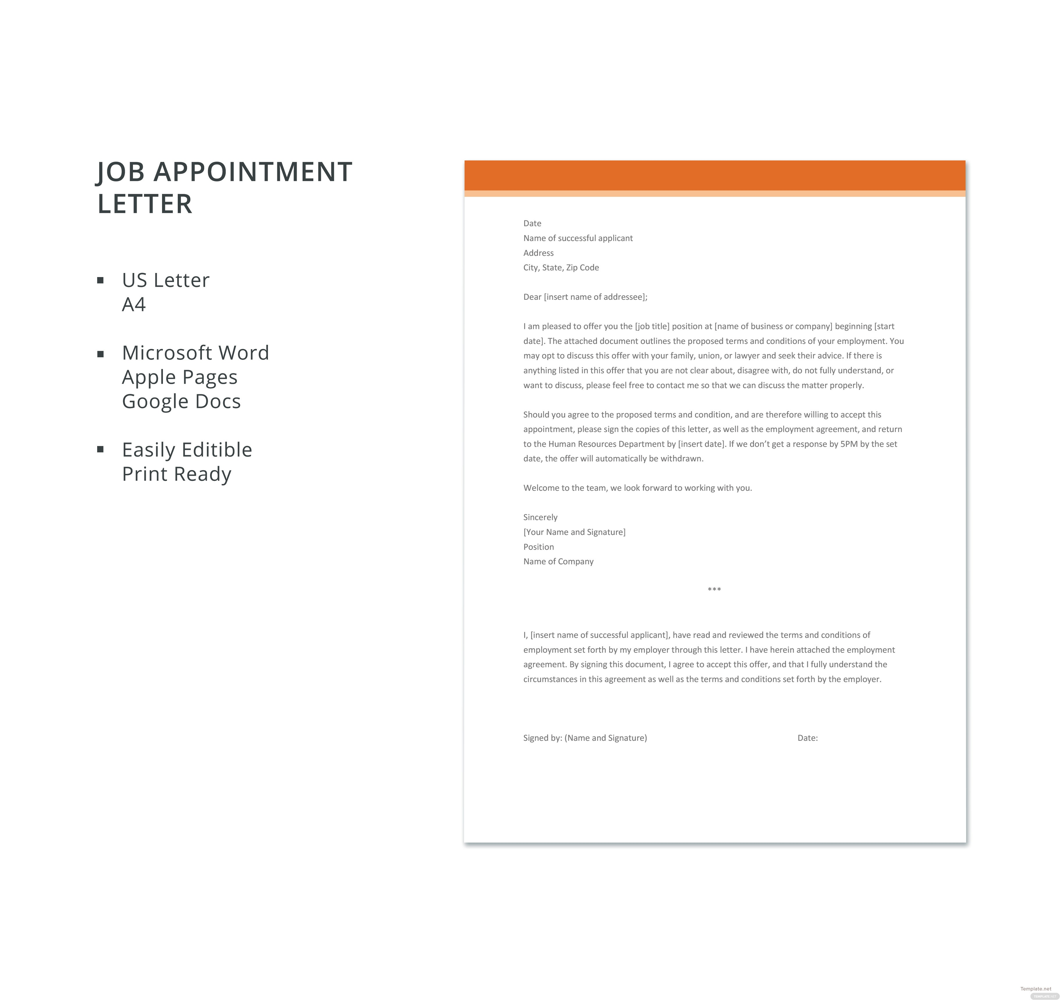 Job appointment letter template in microsoft word apple pages job appointment letter template thecheapjerseys Image collections