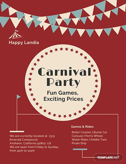 carnival flyer template in adobe photoshop illustrator indesign