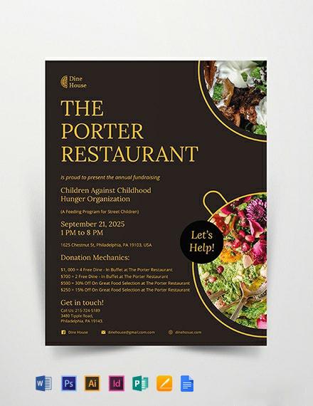 Restaurant Fundraising Flyer Template