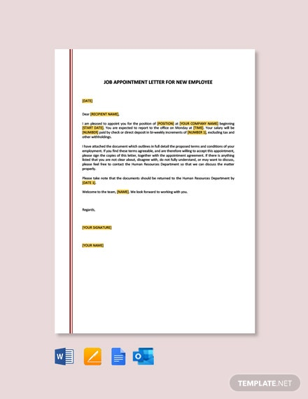 Free Job Appointment Letter Template for New Employee